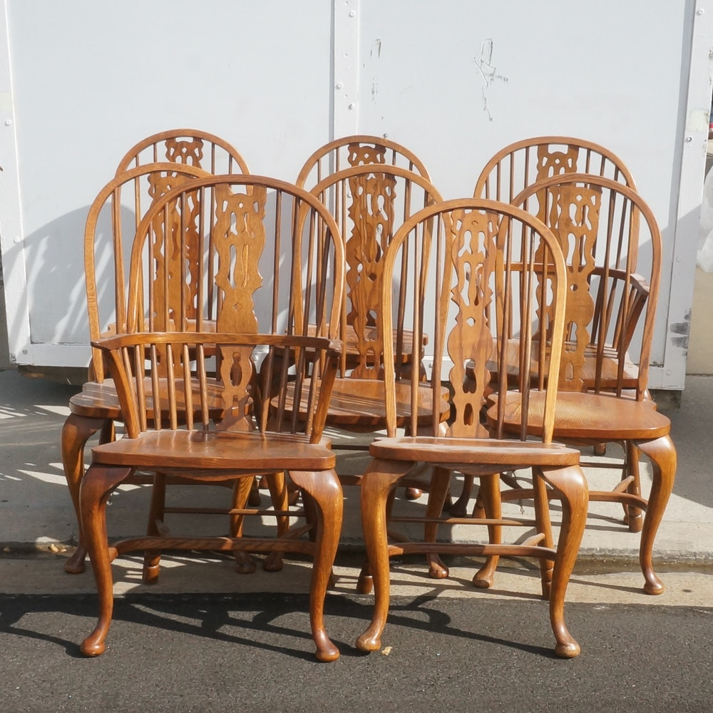 Eight Oak Queen Anne Style Windsor Chairs