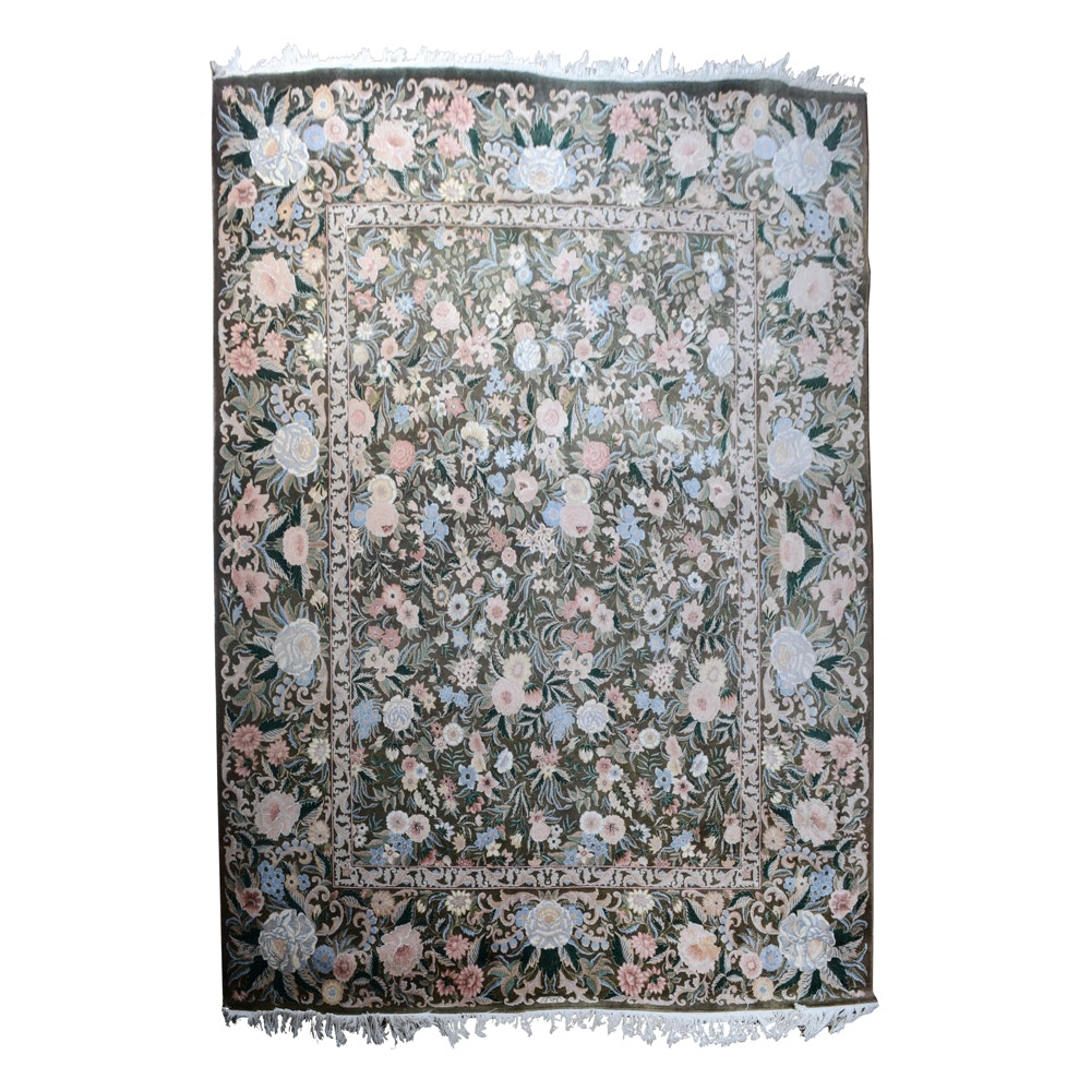 Finely Hand-Knotted Signed Persian Wool and Silk Blend Area Rug