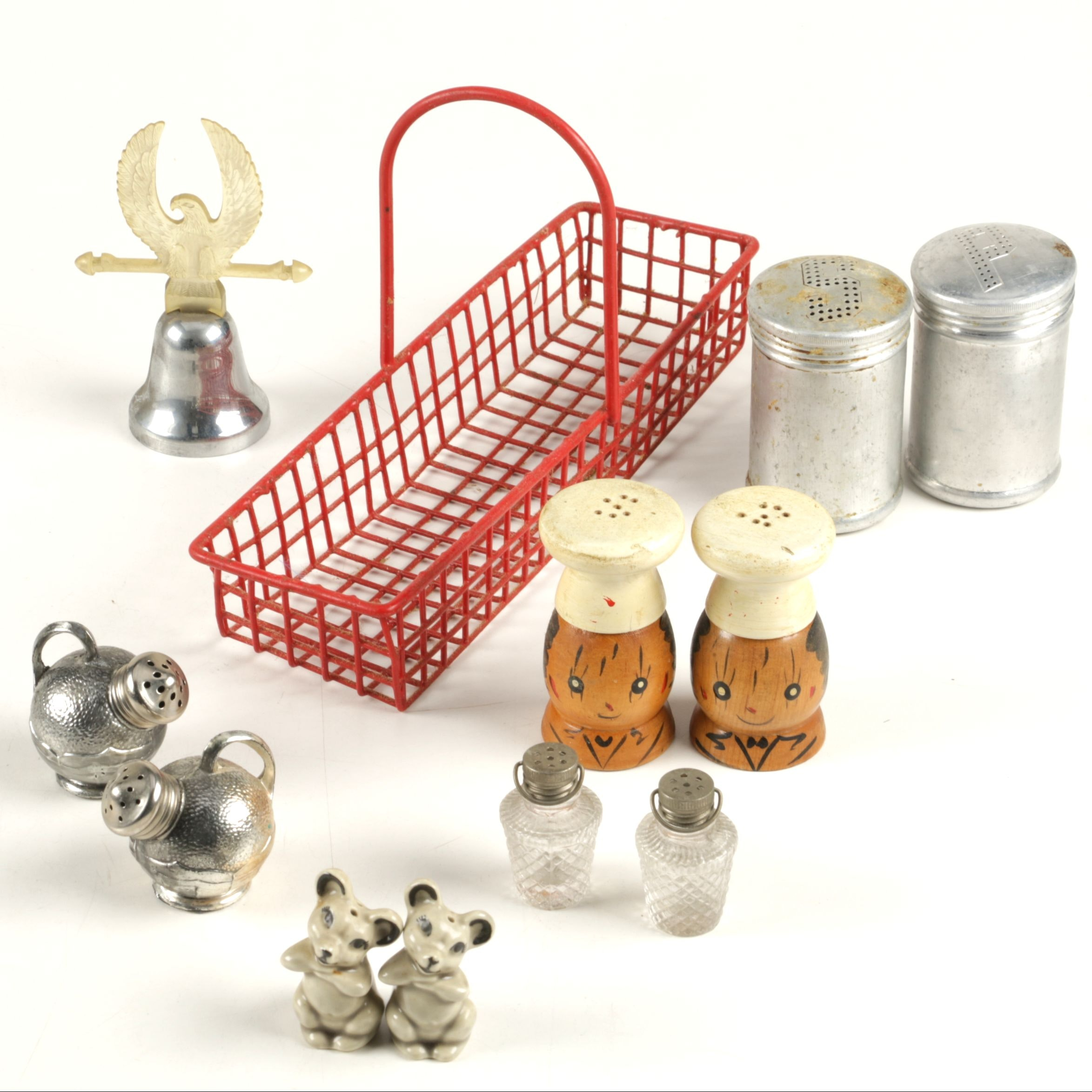 Vintage Salt and Pepper Shakers Including Silver Plate