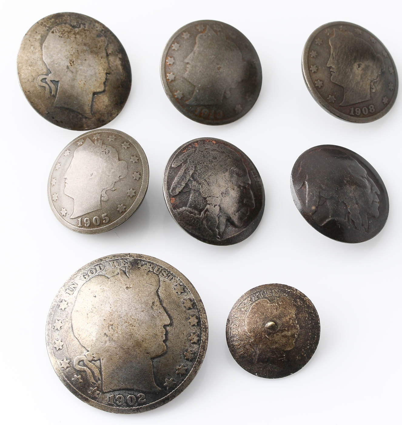 Group of 8 Various Coin Buttons