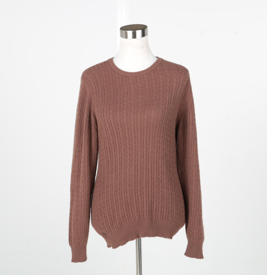 Women's Pringle of Scotland Brown Cable Knit Cashmere Sweater : EBTH
