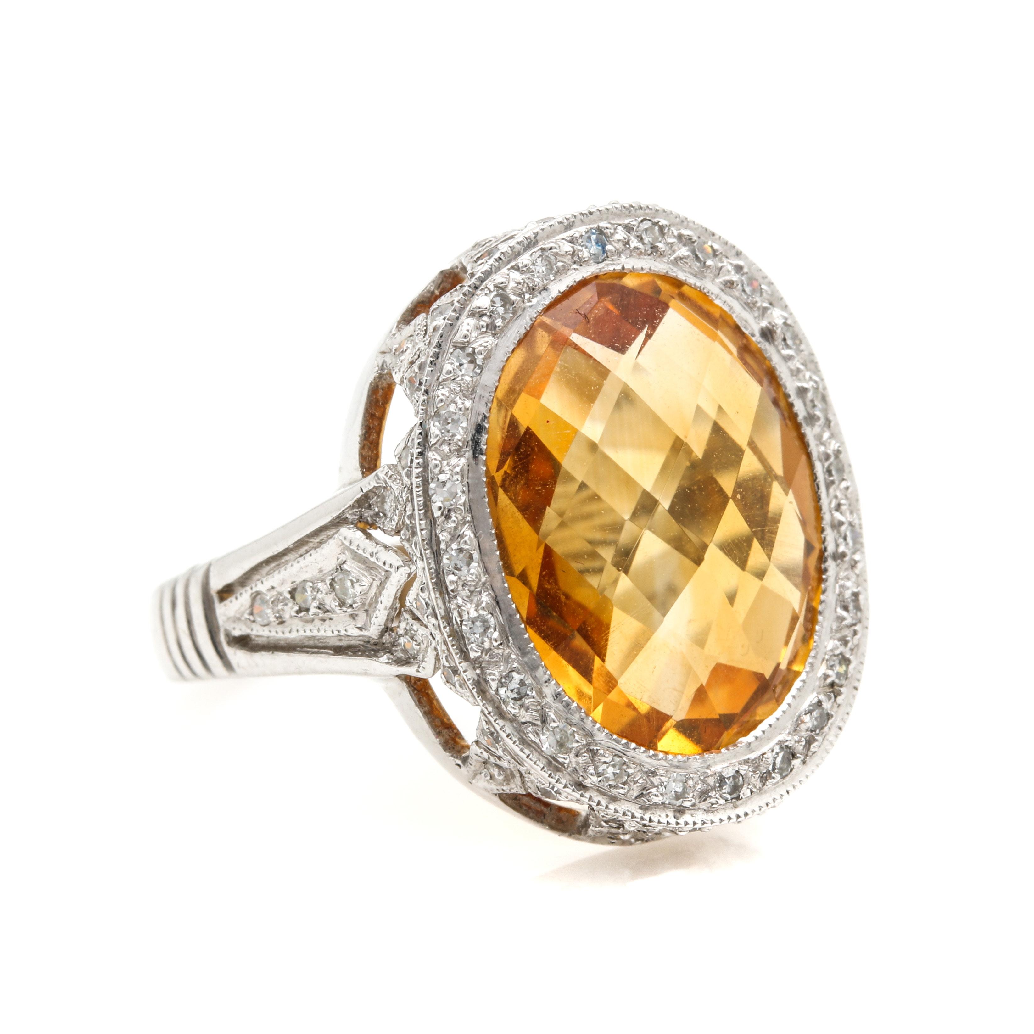 14K White Gold 6.40 CT Citrine and Diamond Ring