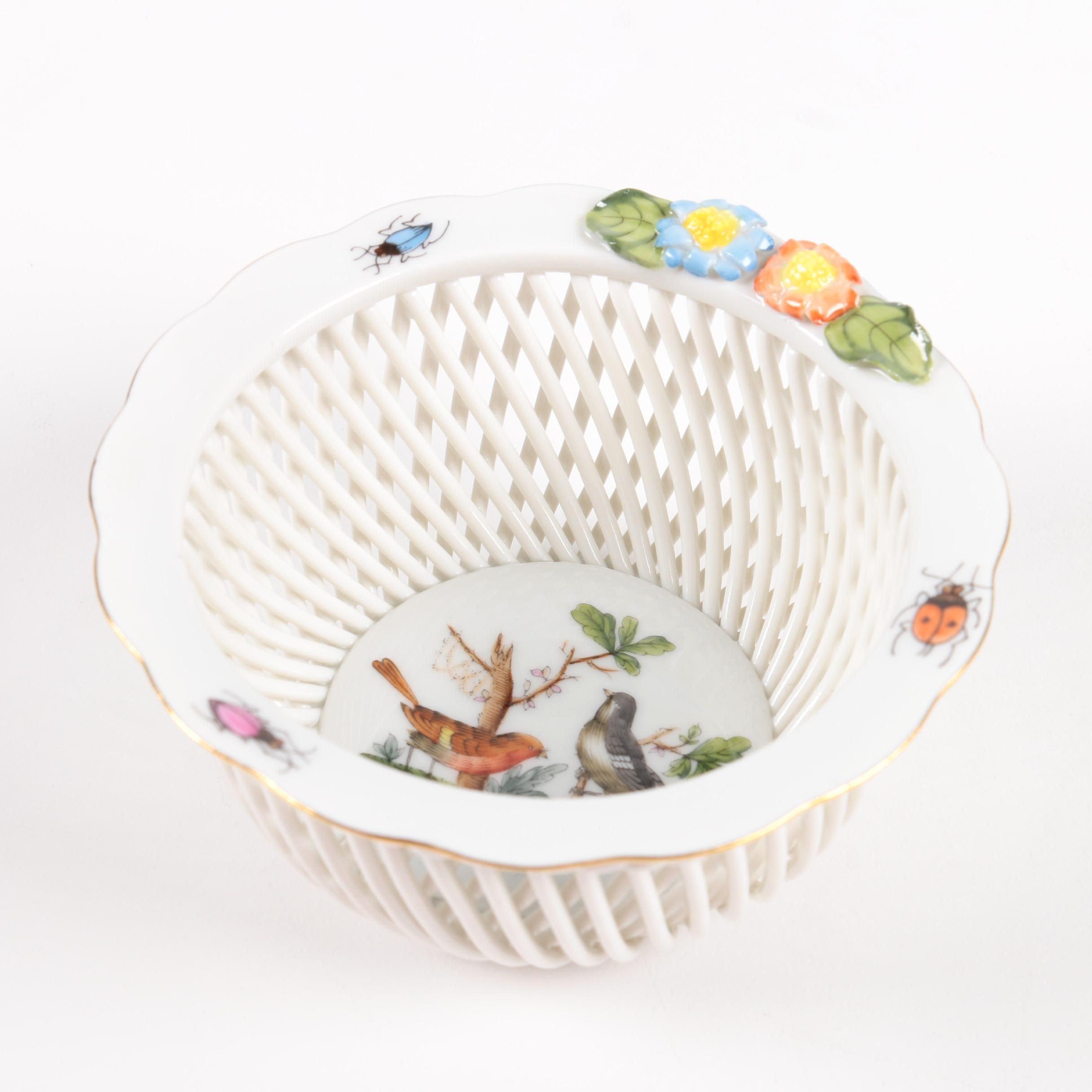 "Herend Hungary ""Rothschild Bird"" Porcelain Basket"