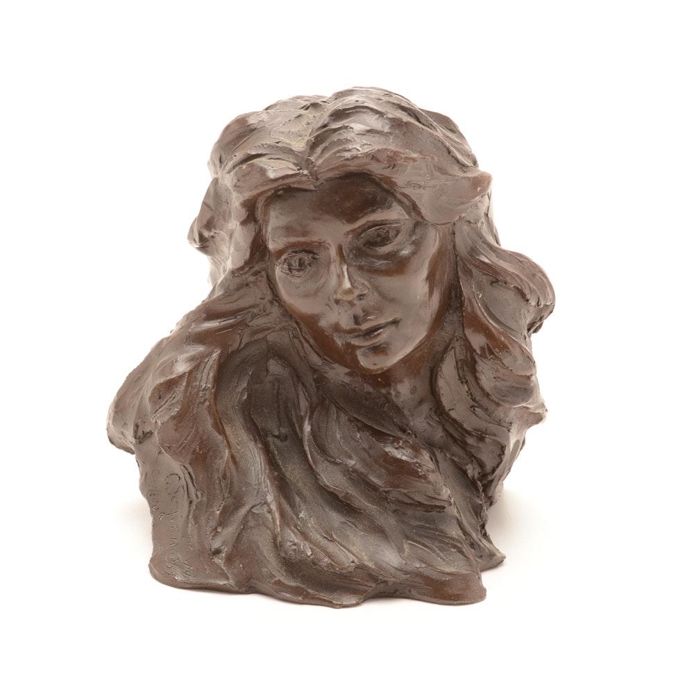 Vintage Signed Cast Bronze Female Profile Head Sculpture