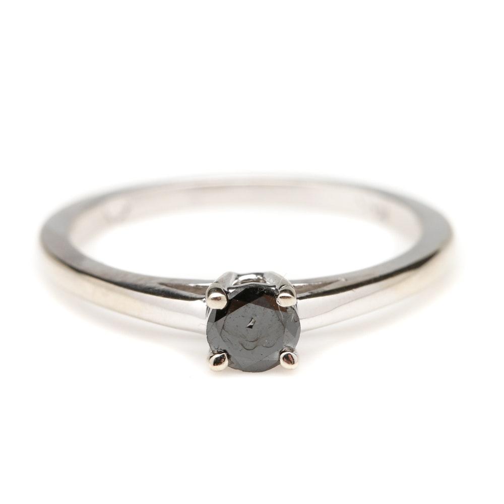 14K White Gold Black Diamond Solitaire Ring
