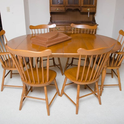 Mid Century Maple Table With Windsor Style Chairs By Conant Ball Furniture