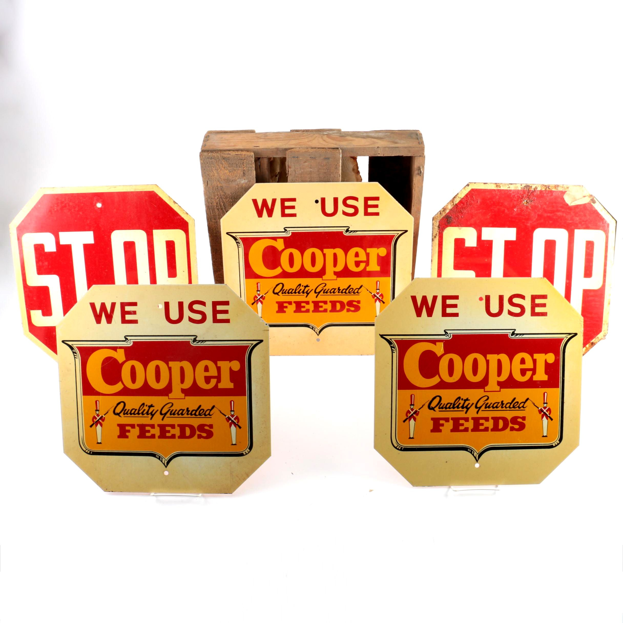 "Metal ""Cooper Feed"" Signs and Wooden Storage Crate"