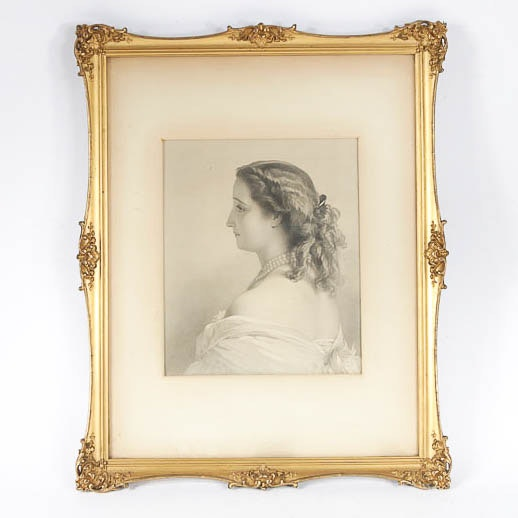 Antique Engraved Portrait of a Woman in an Ornate Gilded Frame