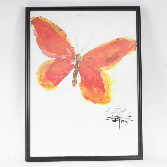 Tommy Tune Offset Lithograph on Paper of a Butterfly