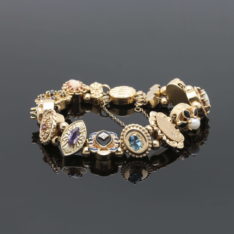 Victorian Revival 10K and 14K Yellow Gold Slide Gemstone Bracelet