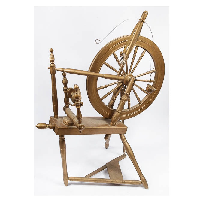 Painted Antique Spinning Wheel