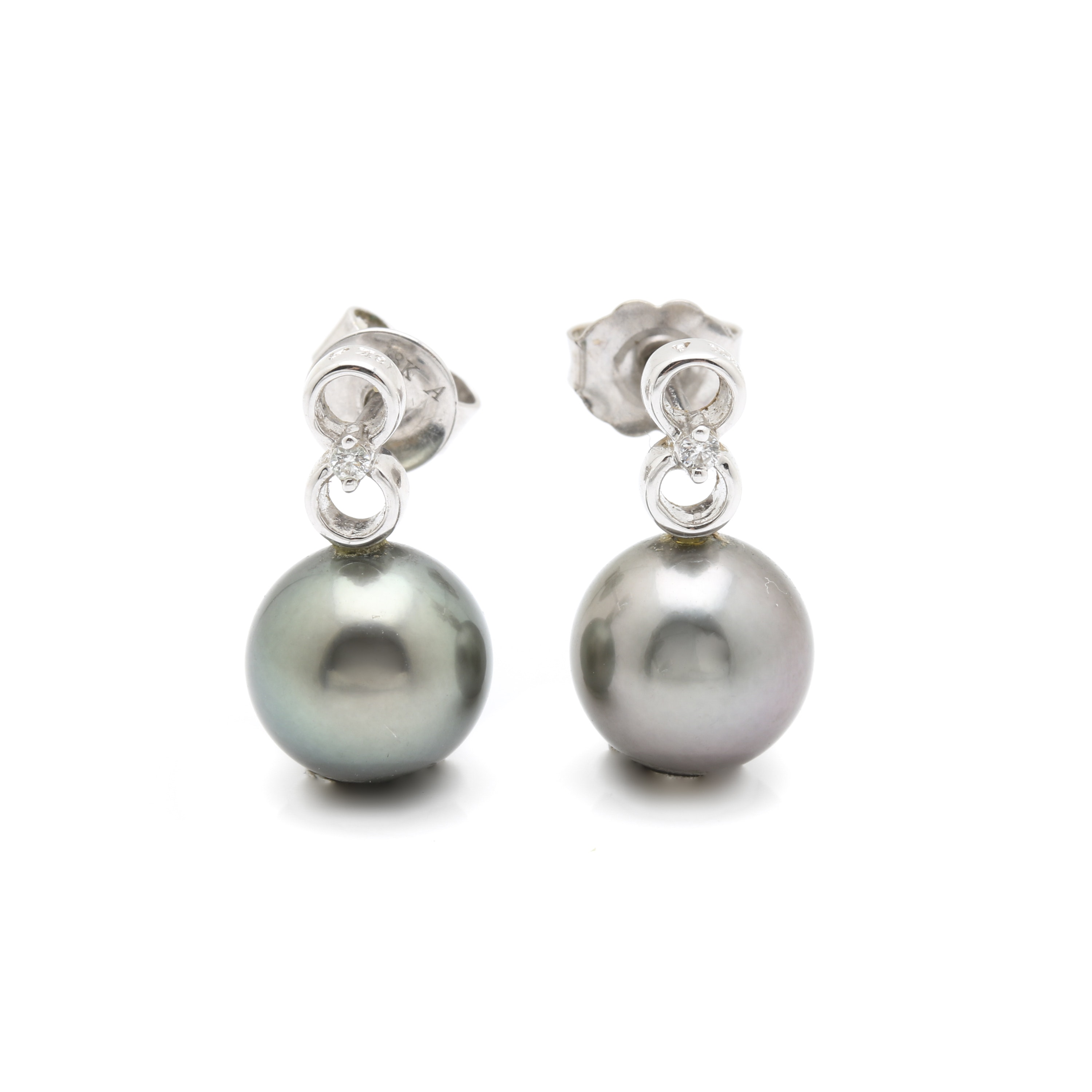 18K White Gold Black Pearl and Diamond Drop Earrings