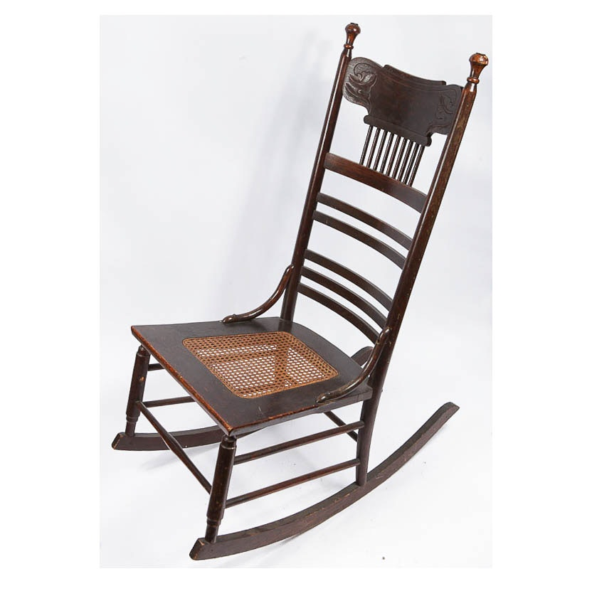Vintage Carved Cane Seat Rocking Chair