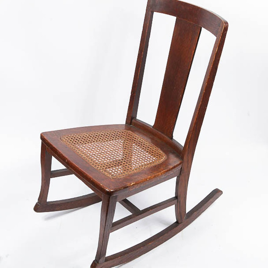 Vintage Oak Cane Seat Rocker by Frederick Loeser ... - Vintage Oak Cane Seat Rocker By Frederick Loeser : EBTH