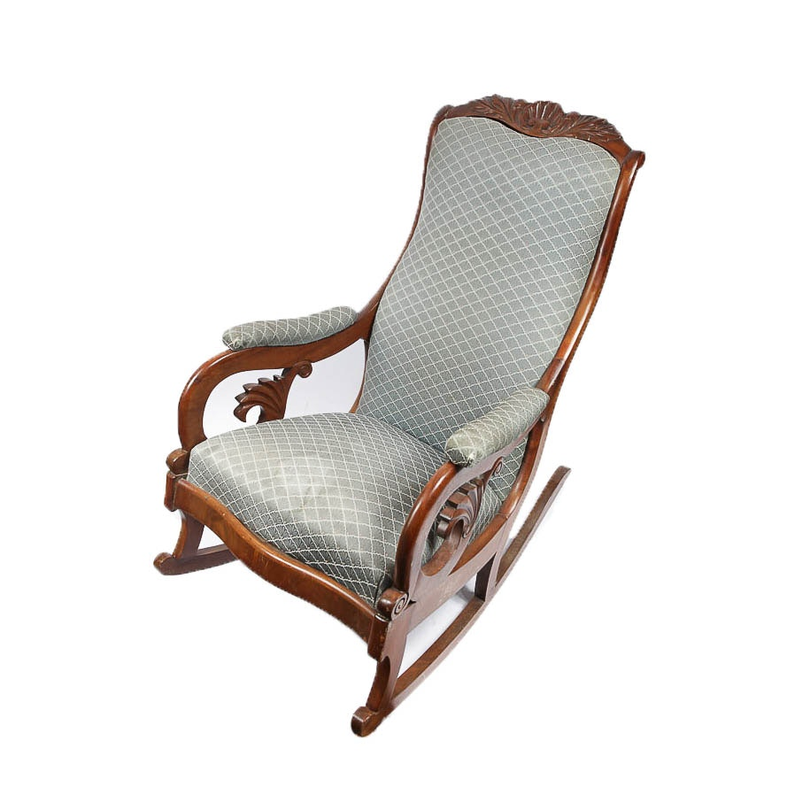 Victorian Carved Walnut Upholstered Rocking Chair
