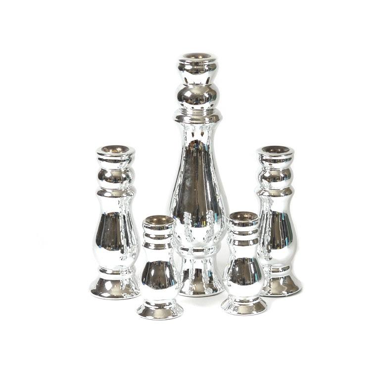 Graduated Silver-Toned Candleholder Set