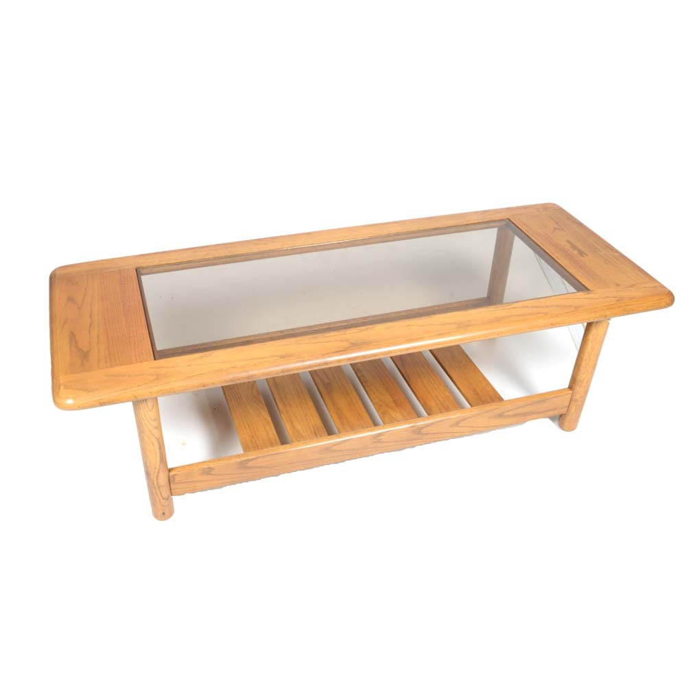 Vintage Oak and Glass Coffee Table