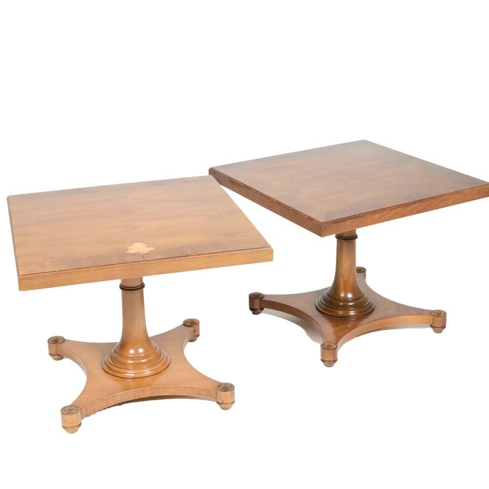 Pair of Vintage Oak Veneer Side Tables