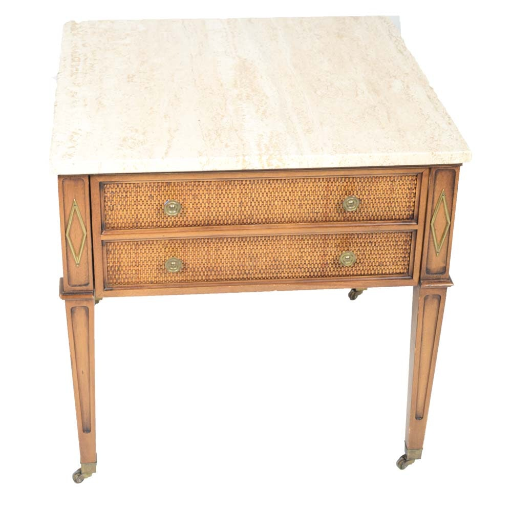 Vintage Marble Top Hardwood Side Table