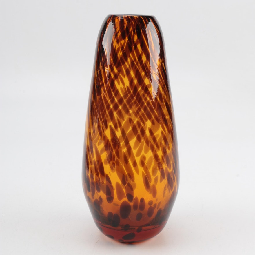 Vintage Viking Hand Blown Glass Vase Ebth