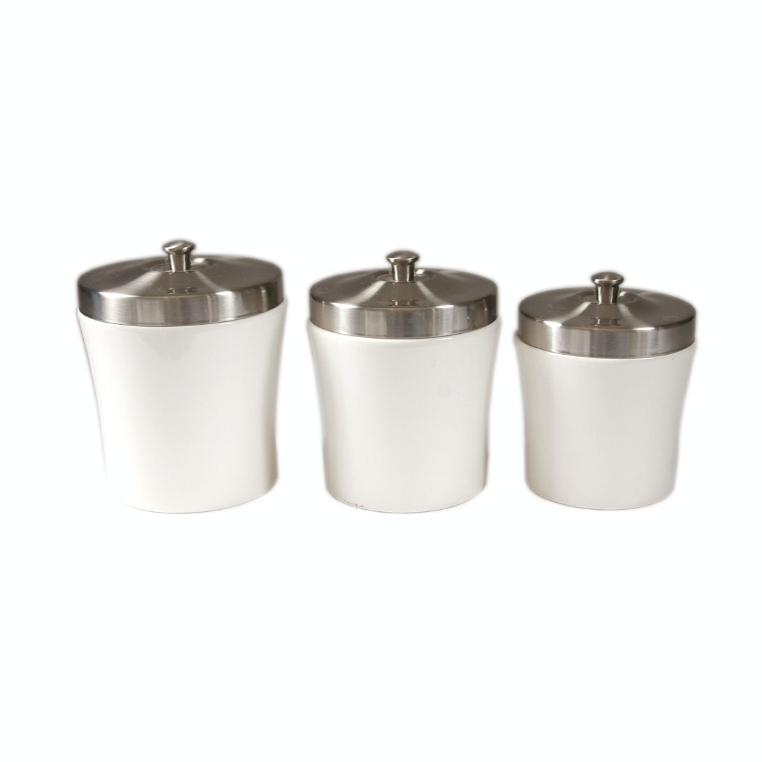 White Ceramic Canister with Silver Tone Lids