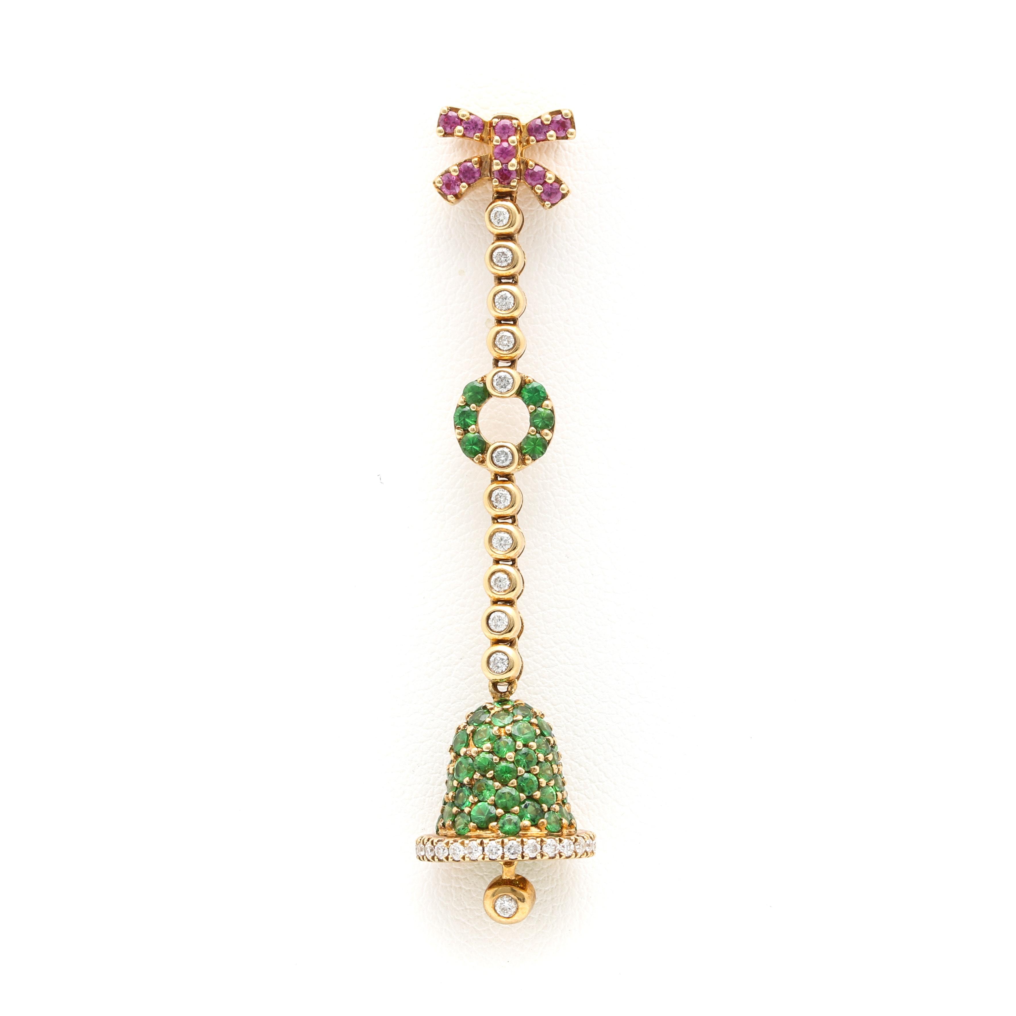 18K Yellow Gold Pink Sapphire, Diamond and Tsavorite Garnet Bell Pendant