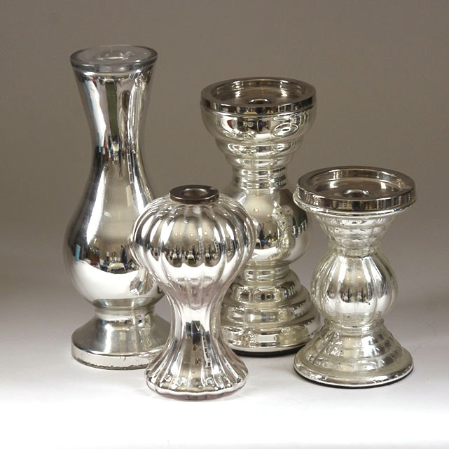 Assorted Silver Tone Glass Candlestick Holders