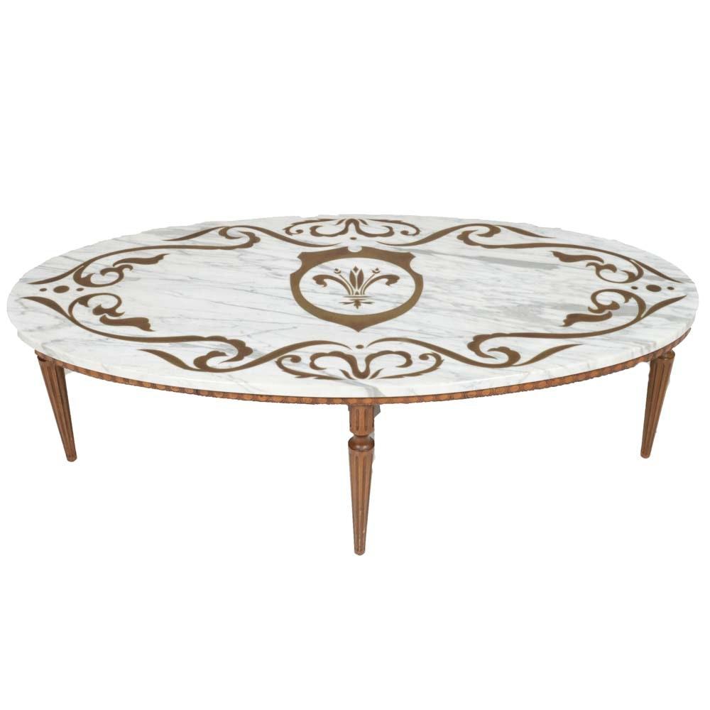 Vintage Italian Marble Top Walnut Coffee Table
