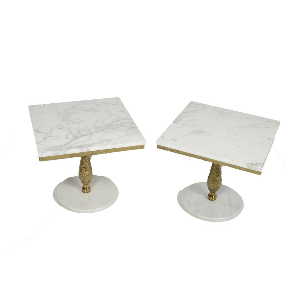 Pair of Vintage Marble Top End Tables