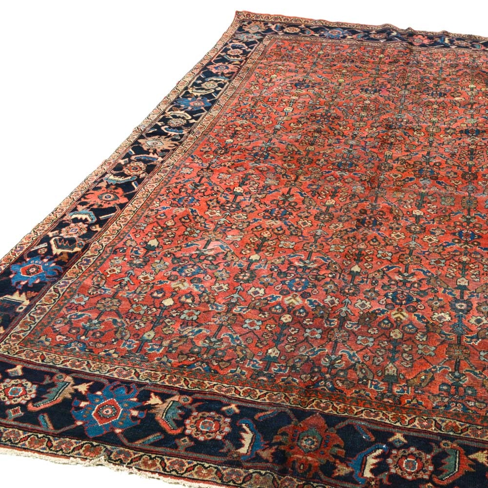 Antique Hand Knotted Persian Mahal Room Size Rug