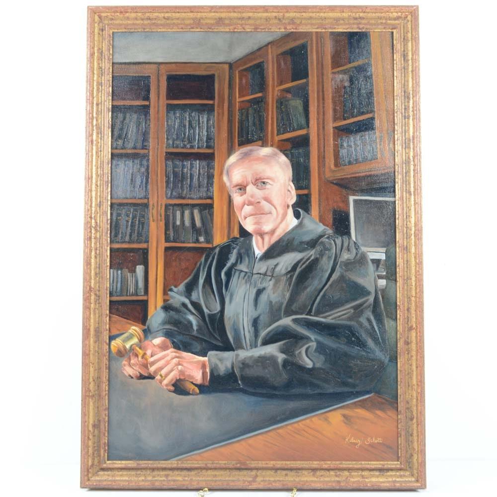 Kelsey Schott Oil on Canvas Portrait of Judge