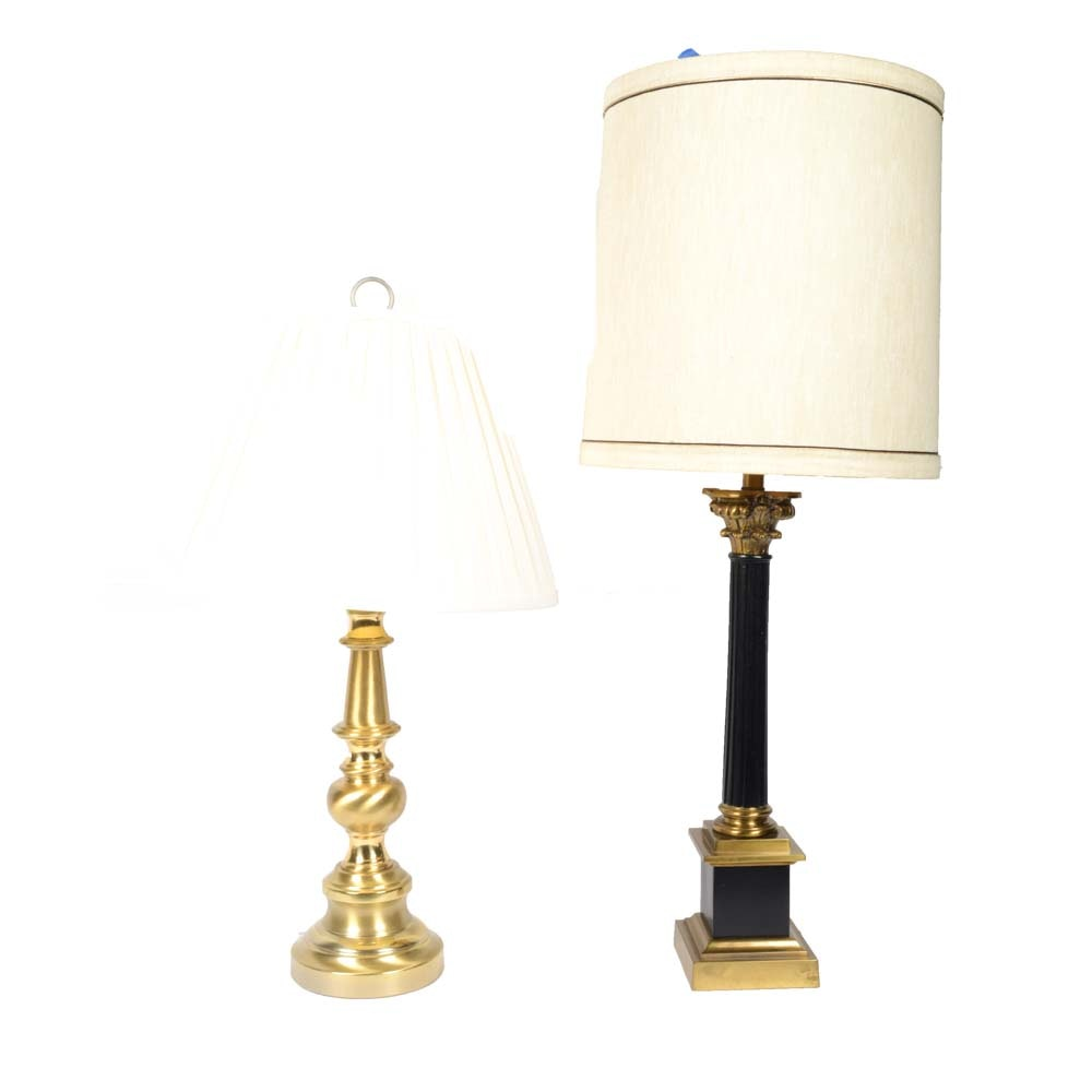 Two Vintage Brass Table Lamps
