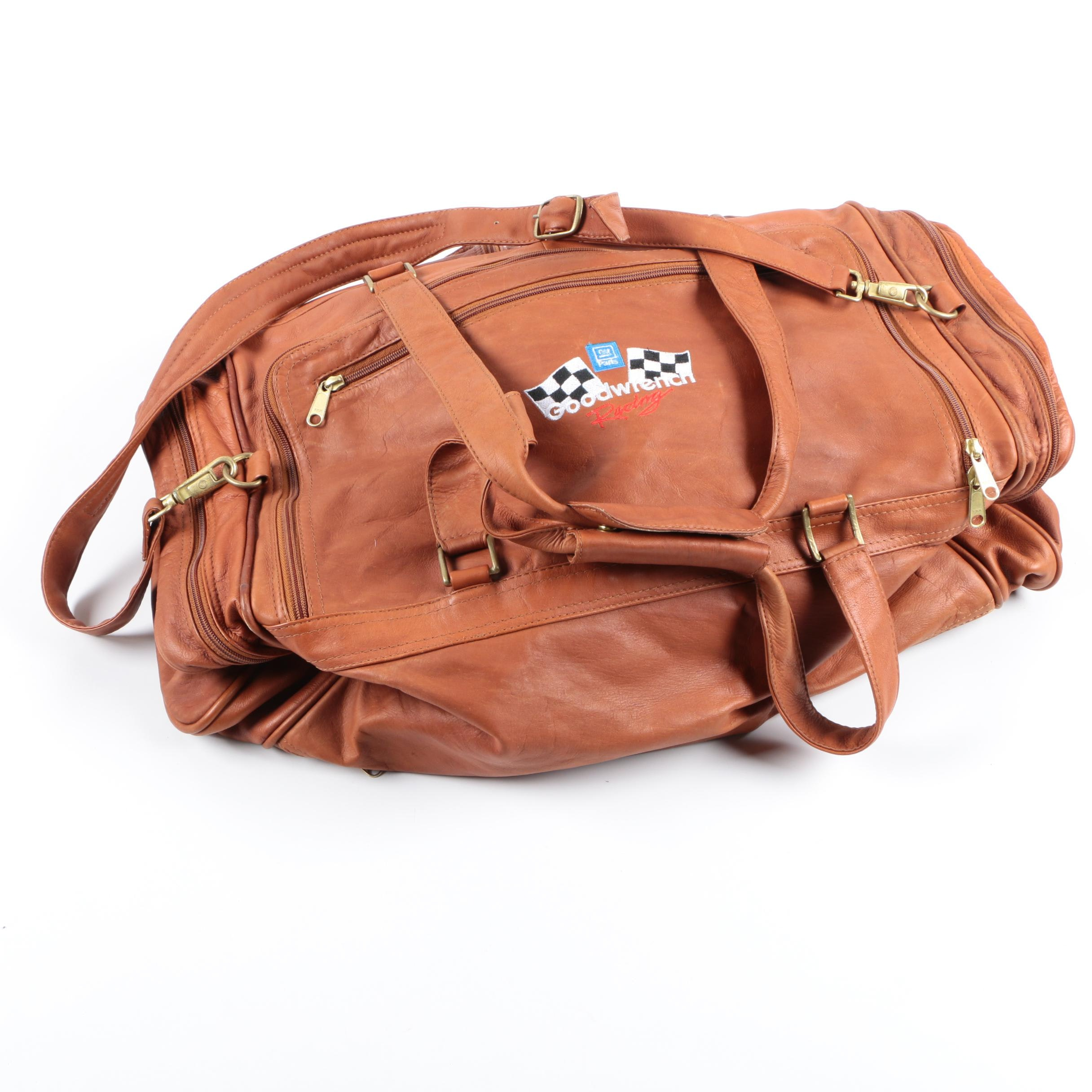 Vintage GM Goodwrench Racing Brown Leather Duffel Bag