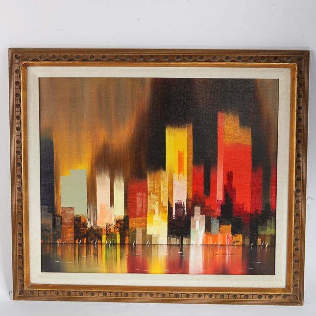 James Sherman Oil Painting on Canvas Abstract Cityscape