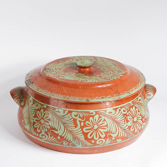 Mexican Hand-Painted Earthenware Casserole Dish