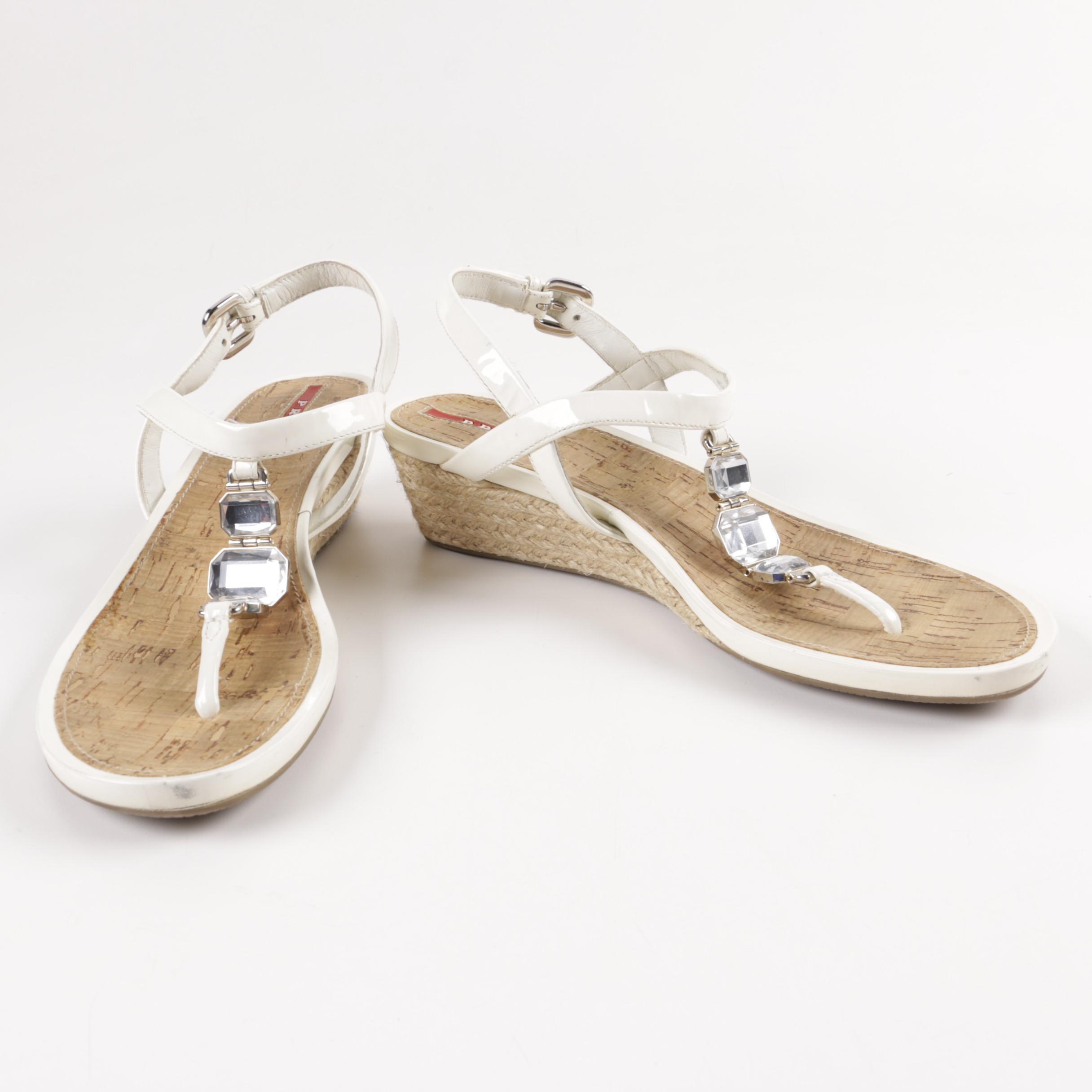 Prada Wedge Sandals with Rhinestones