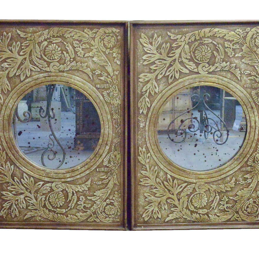 Round Wall Mirrors with Ornate Wood Frames : EBTH