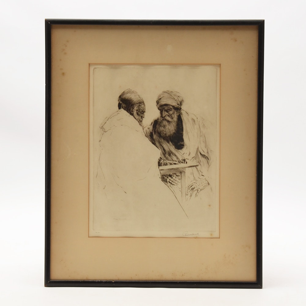 """Paul Ashbrook Limited Edition Etching """"The Chess Players"""""""