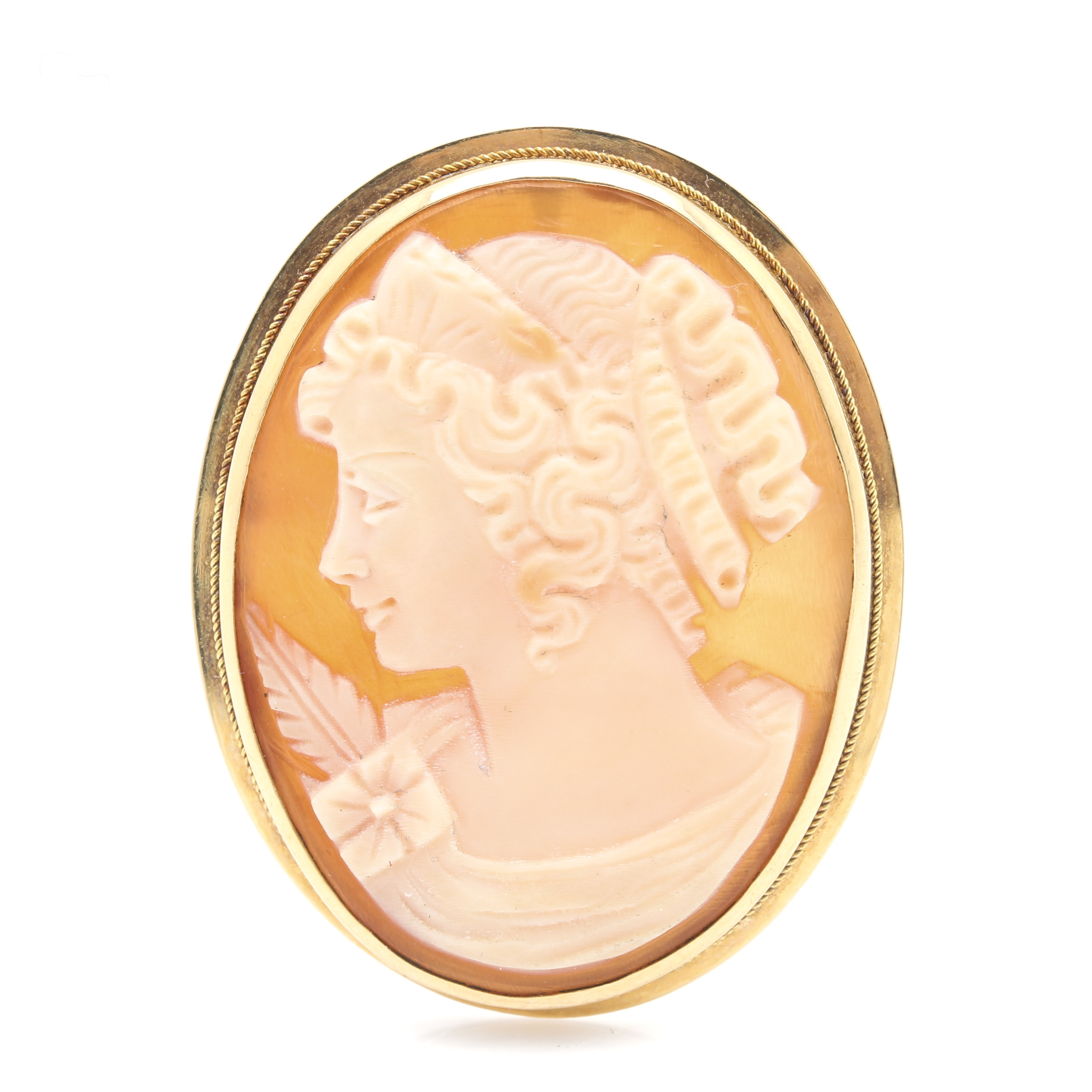 18K Yellow Gold Carved Shell Cameo Brooch