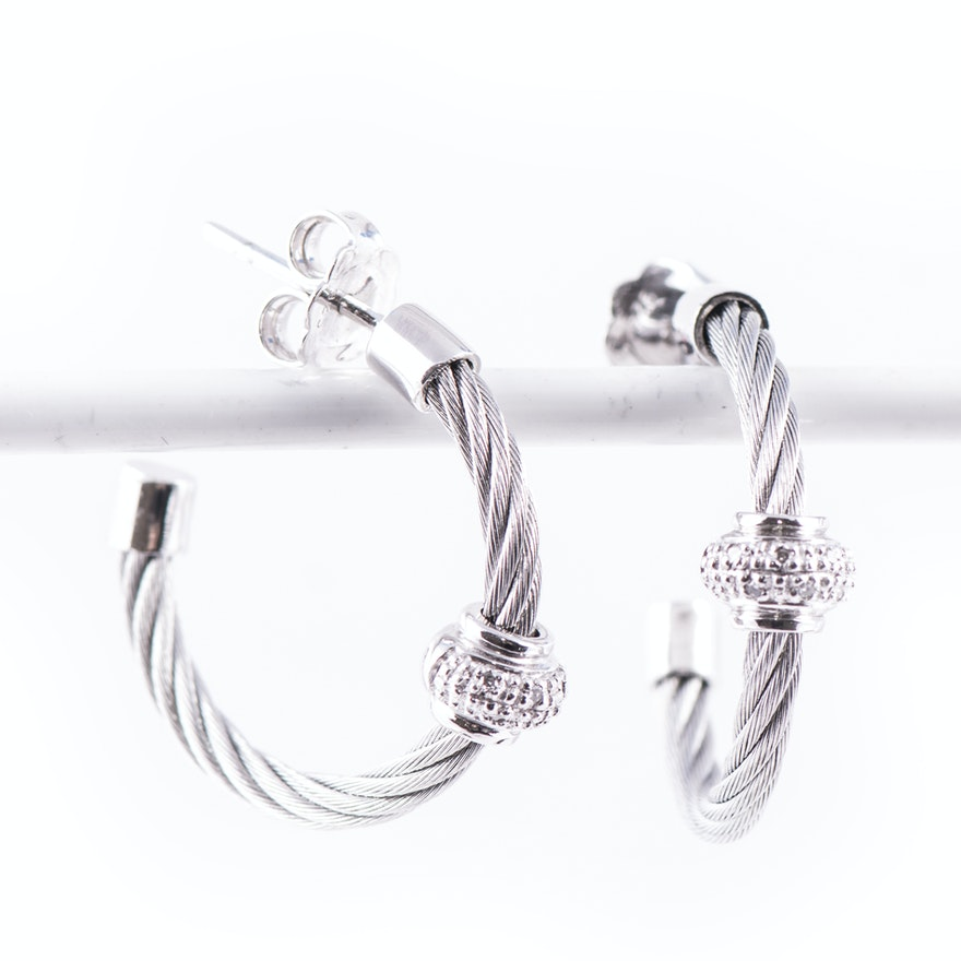 Sterling Silver and Diamond Twisted Wire Hoop Earrings : EBTH