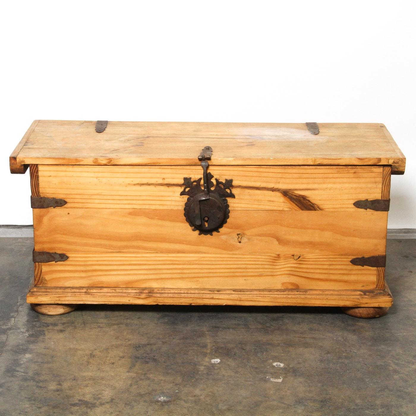 Vintage Wooden Chest with Brass Hardware