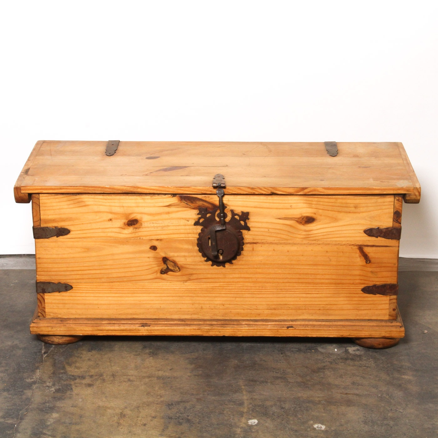 Pine Chest with Wrought Iron Hardware