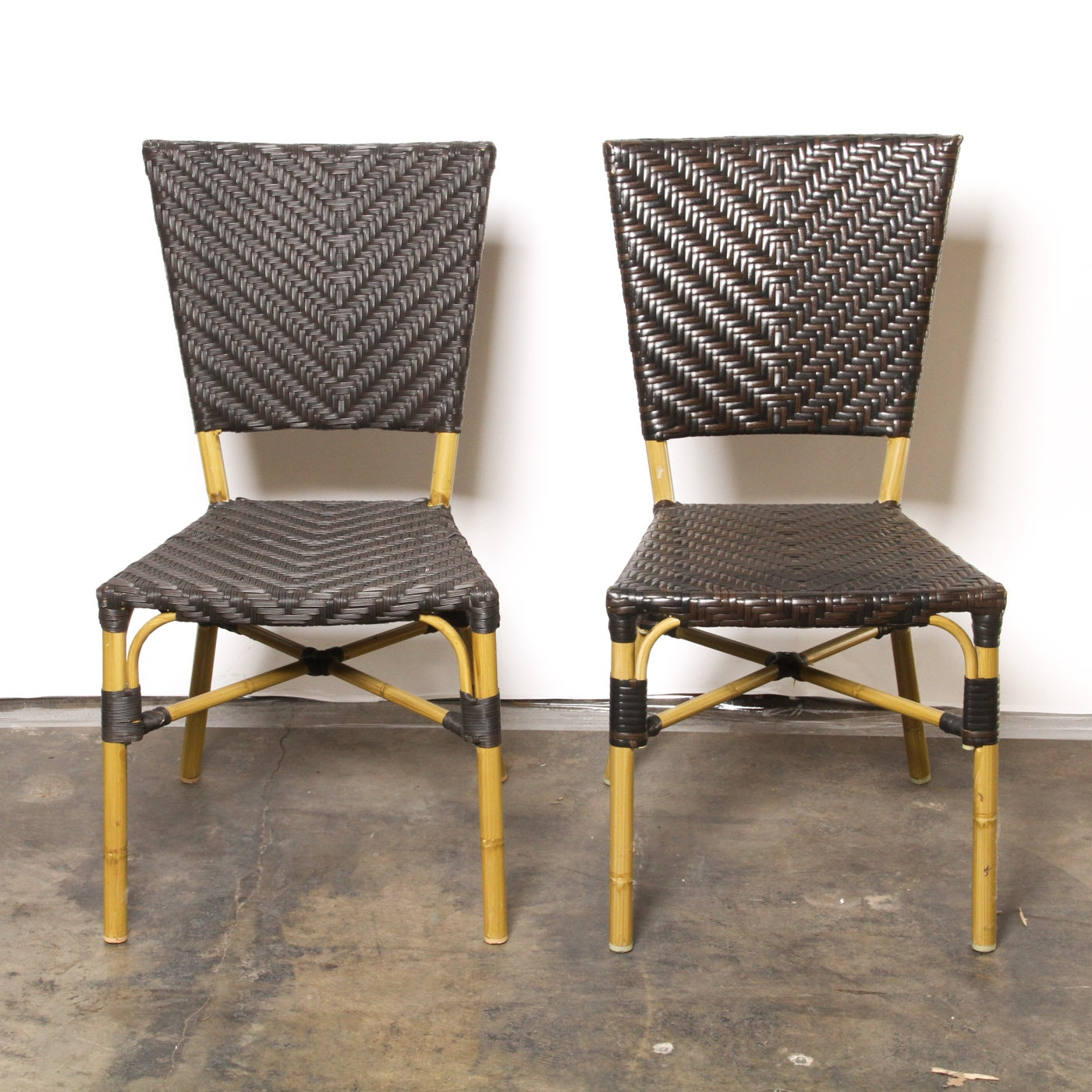 Brown Woven Wicker Side Chairs
