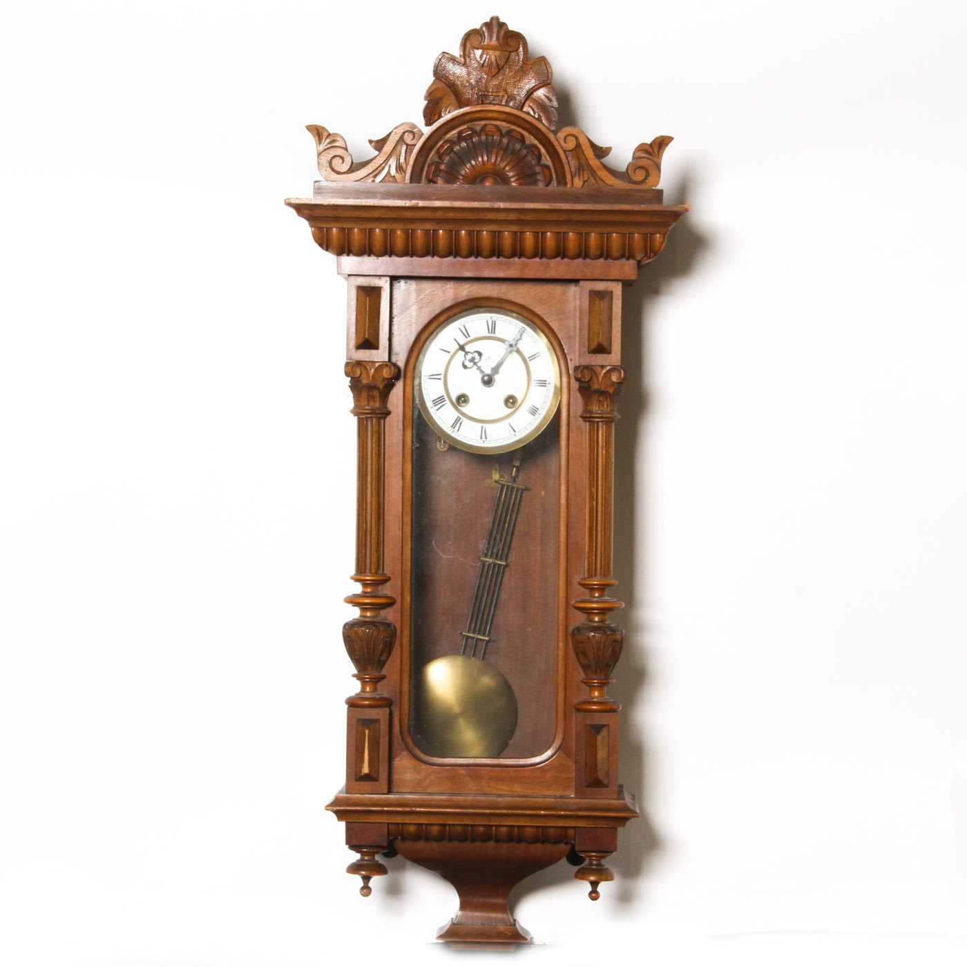 Vintage Ornately Carved Pendulum Wall Clock