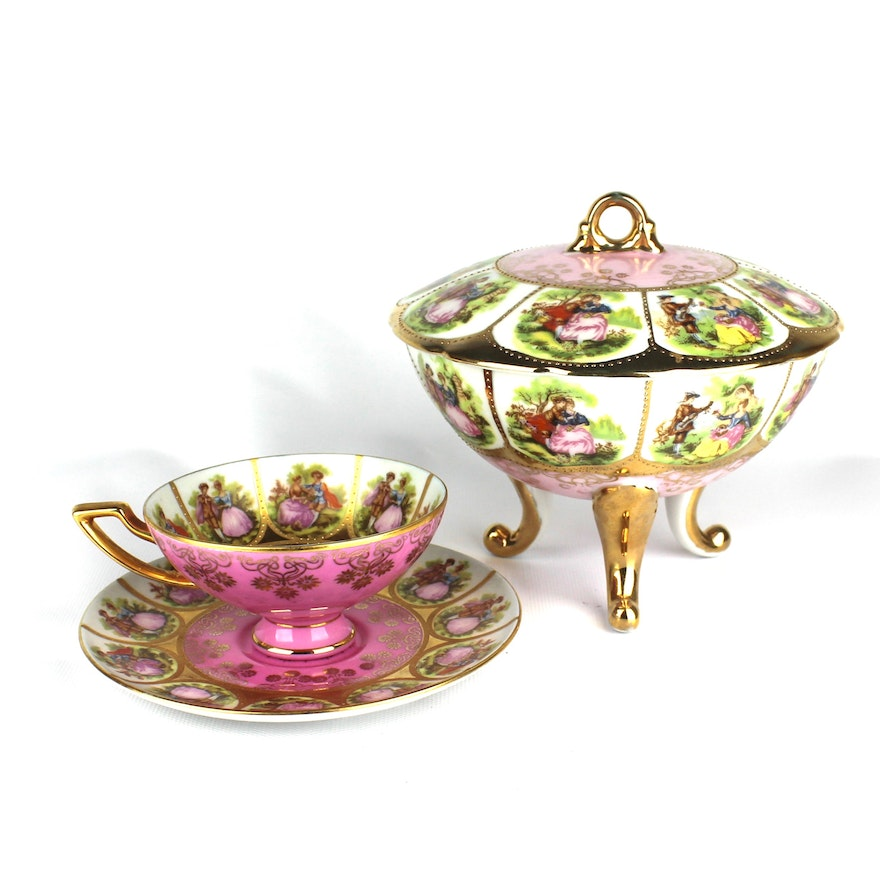 Vintage Carlsbad Courting Scenes Candy Dish With Cup And Saucer By