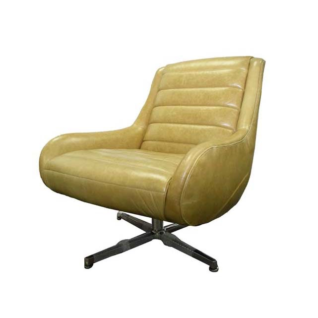 Mid Century Modern Leather and Chrome Armchair