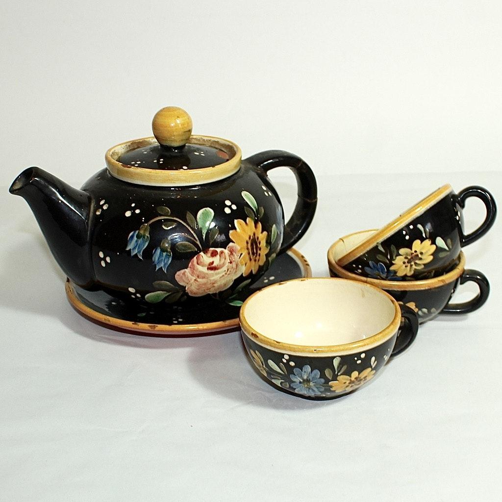 Vintage Tole Painted Earthenware Tea Set