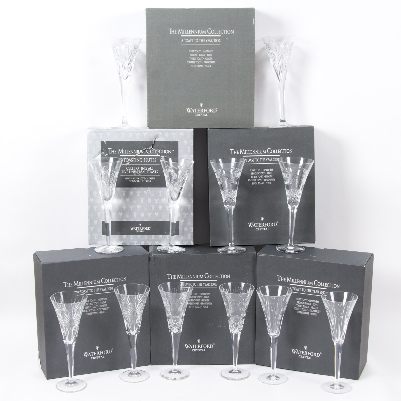 Complete Waterford Millennium Collection Toasting Flutes Set