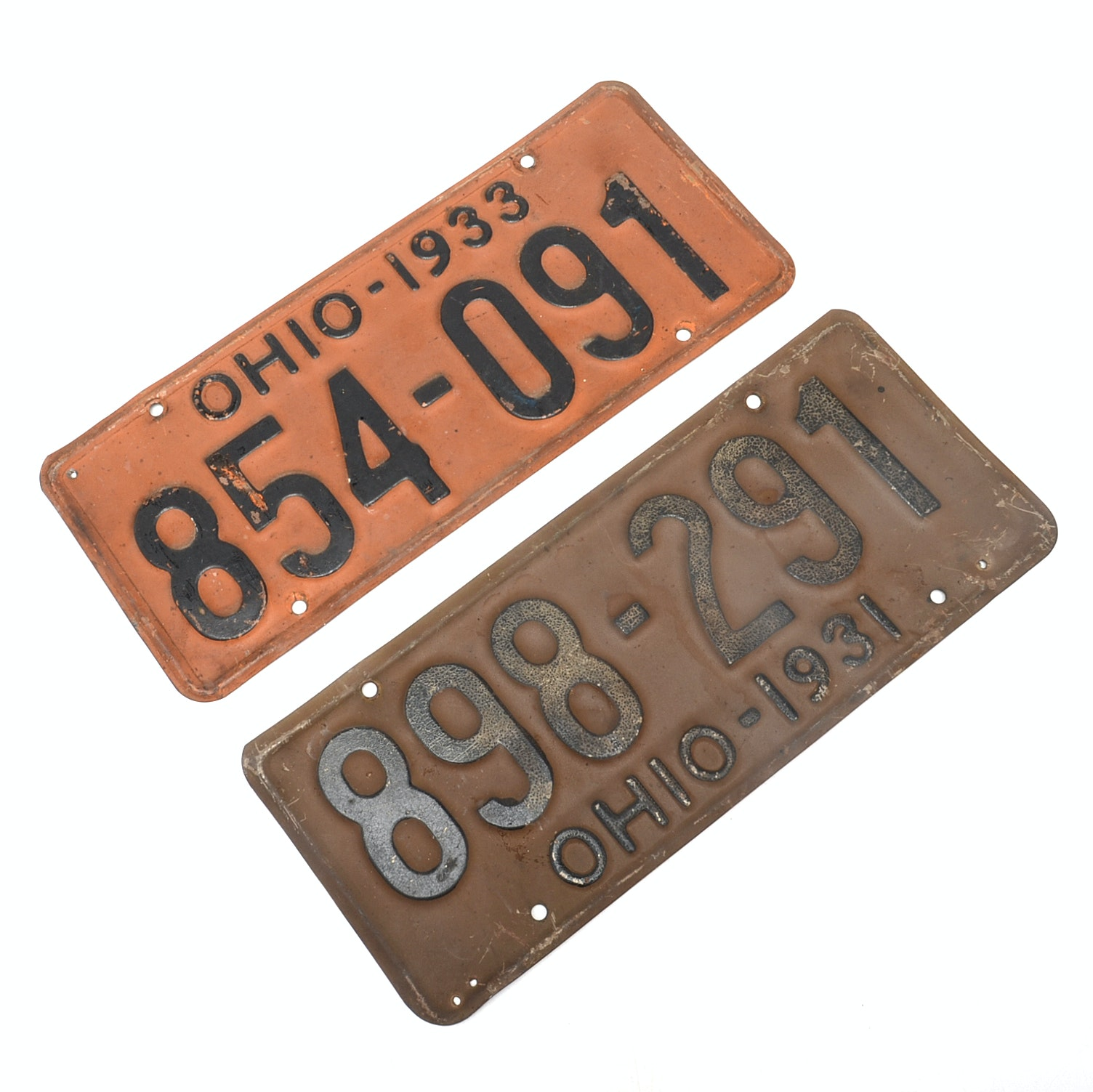 1931 and 1933 Depression Era Ohio Metal License Plates