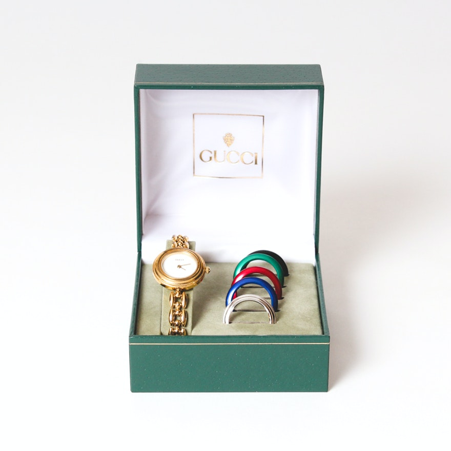 f3b35390d66 Gucci Wristwatch With Interchangeable Colored Bezels   EBTH